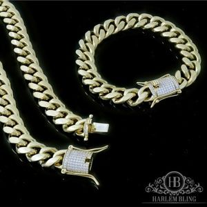 Harlembling Men 14k Gold Bracelet & Chain Set